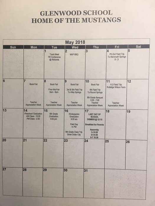 May calendar of events 2018