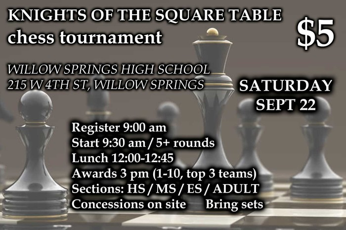 Chess Tournament September 22, 2018 information