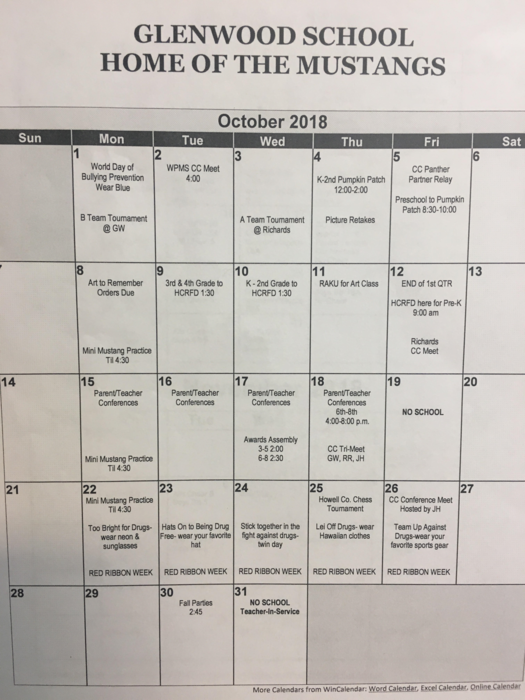 October calendar of events 2018