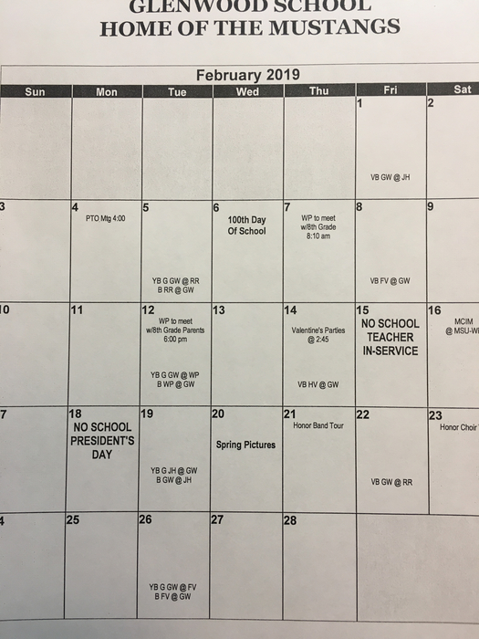 February calendar of events 2019