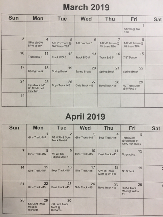 Sports calendar March and April 2019