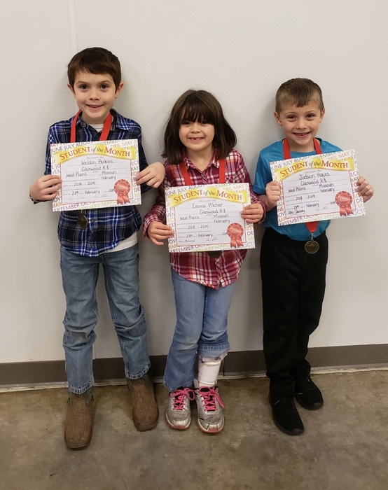 February 2019 Students of Month Pk-2