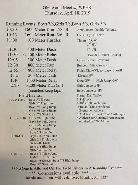 April 22nd track meet schedule