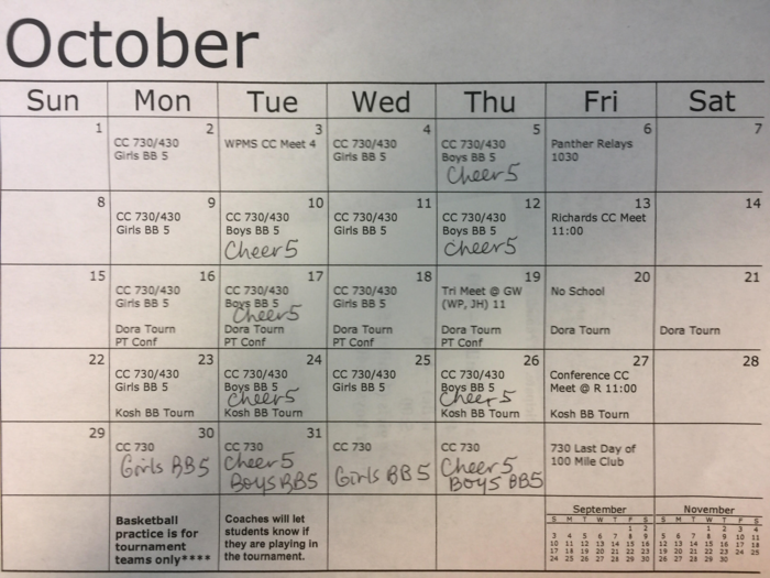 October sports calendar includes basketball, cross country, and cheerleading