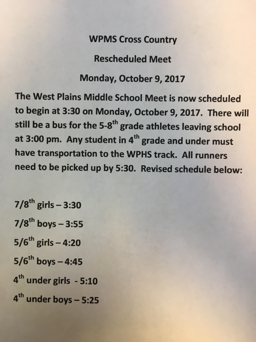 Cross Country meet info for Oct 9, 2017