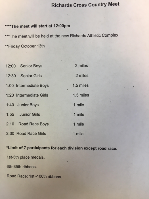 Cross Country meet info for Oct 13, 2017
