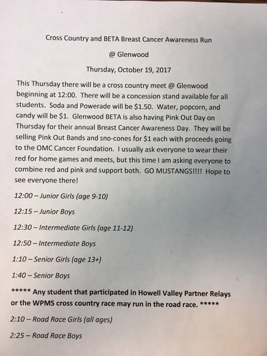 Cross Country meet info for Oct 19, 2017