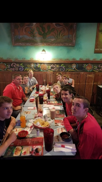 Senior Boys cross country team victory lunch