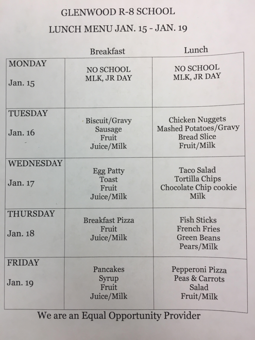 Lunch menu for Jan. 16-19th