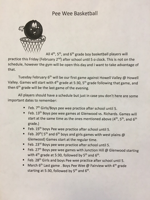 Boys Pee Wee Basketball Information Jan 2018