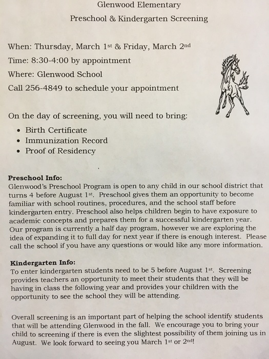 PreK-K Screening information