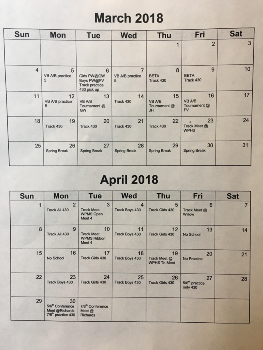 March and April 2018 sports calendar