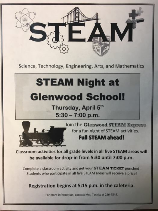 STEAM parent night flyer Thursday April 5th
