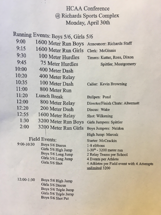 5/6th Grade Conference Meet